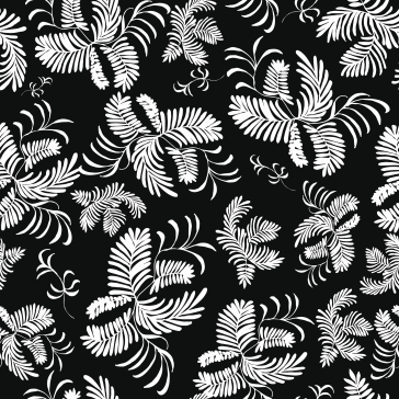 White fern in black of night surface pattern