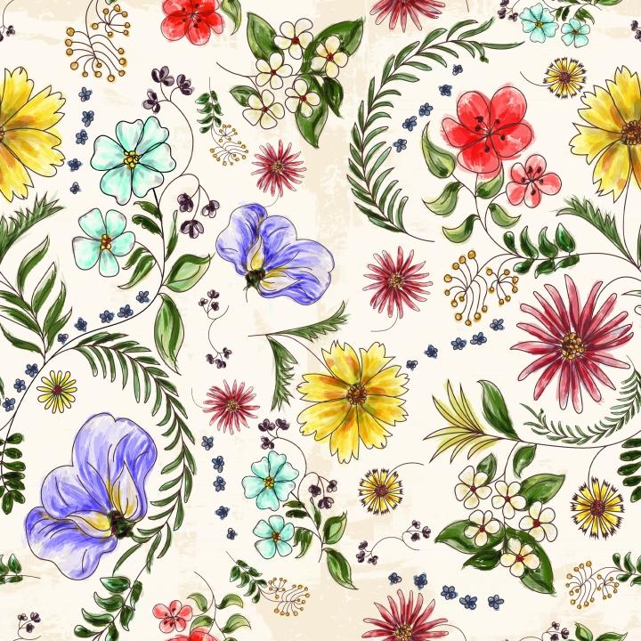 Florida Wildflowers repeat pattern